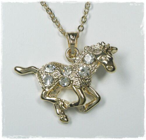 Nuevo 43cm collar caballo con pedrería cristalino Collier color oro caballos