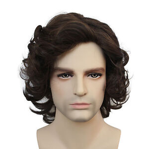 Hot Men Fashion Short Brown Wavy Curly Hair Handsome Male Cosplay