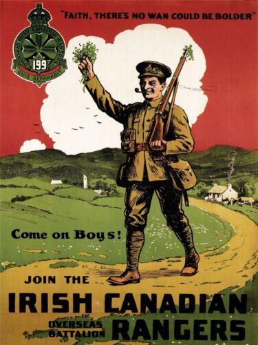 PROPAGANDA WAR WWI CANADA IRISH RANGERS SOLDIER ENLIST ART POSTER PRINT LV7177