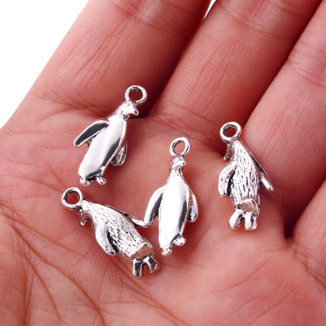 6 Penguin Charms Penguin Bird Charm Pendants 23mm Antique Silver