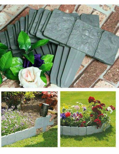 20pcs Garden Hammer In Lawn Edging Brick Effect Cobbled Stone Plastic Fence UK