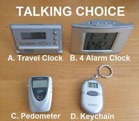 Choice Of Talking Travel Alarm Clock, Pedometer Or Keychain English Or Spanish