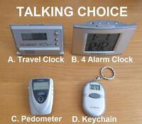 Choice Of Talking Travel Alarm Clock, Pedometer Or Keychain English Or Spanish
