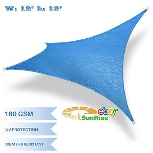 12'x12'ft Blue Square Sun Shade Sail Fabric Outdoor Canopy ...