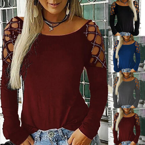 Womens Cold Shoulder Blouse Tee Ladies Long Sleeve Casual Slim Fit T-Shirt Tops