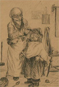 Early 20th Century Pen and Ink Drawing - The Barber