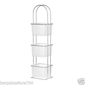 Image Is Loading 3 Tier Bathroom Storage Unit White Plastic Baskets