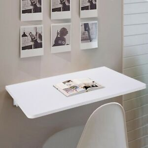 Wall-Mounted-Floating-Folding-Writing-Table-PC-Computer-Desk-Home-Office-White