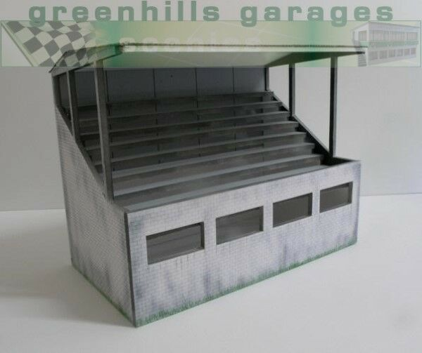 Greenhills Scalextric Slot Car Building Weathered Reims Grandstand Model 1:32...