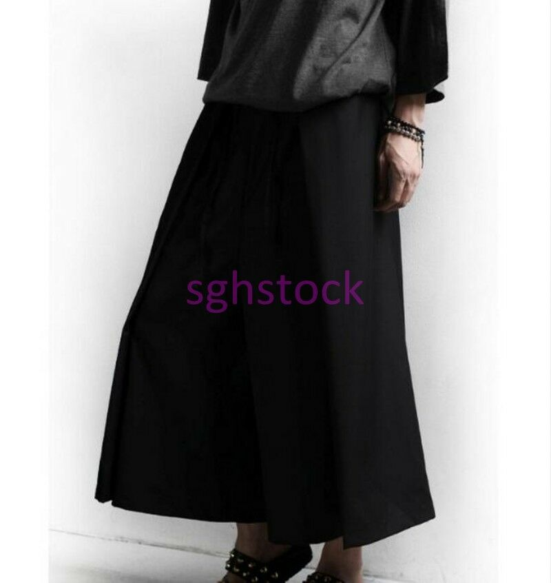 Mens British Low Hot Credch gothic wide leg pants loose casual trouser Stage&&&