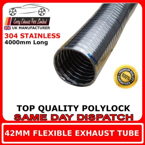"42mm 1"" 58 Universal Flexible Exhaust Repair Tube Polylock Stainless Steel 4M"