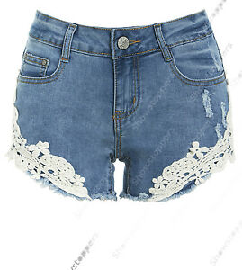 New womens size 6 8 10 12 14 denim shorts ladies lace blue for Womens fishing shorts