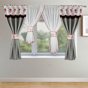 Details About Ready Made Curtain Set Colours Red Grey Gotowe Firany Zaslony
