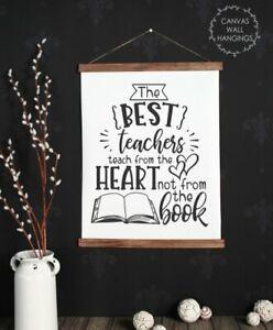 Wood-amp-Canvas-Wall-Print-The-Best-Teacher-Heart-Sign-Art-Decor-Wall-Hanging-Gift