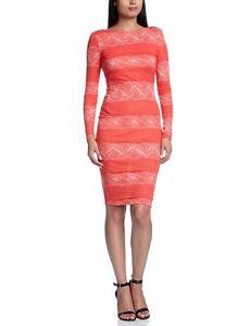 New-Lipsy-Red-Sleeve-Panel-Lace-Stripe-Jersey-Long-Sleeve-Dress-Sz-UK-8-amp-14