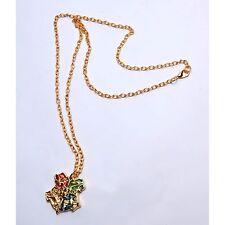 Harry Potter Hogwarts Crest Logo and Motto Golden Pandent Metal Charm Necklace