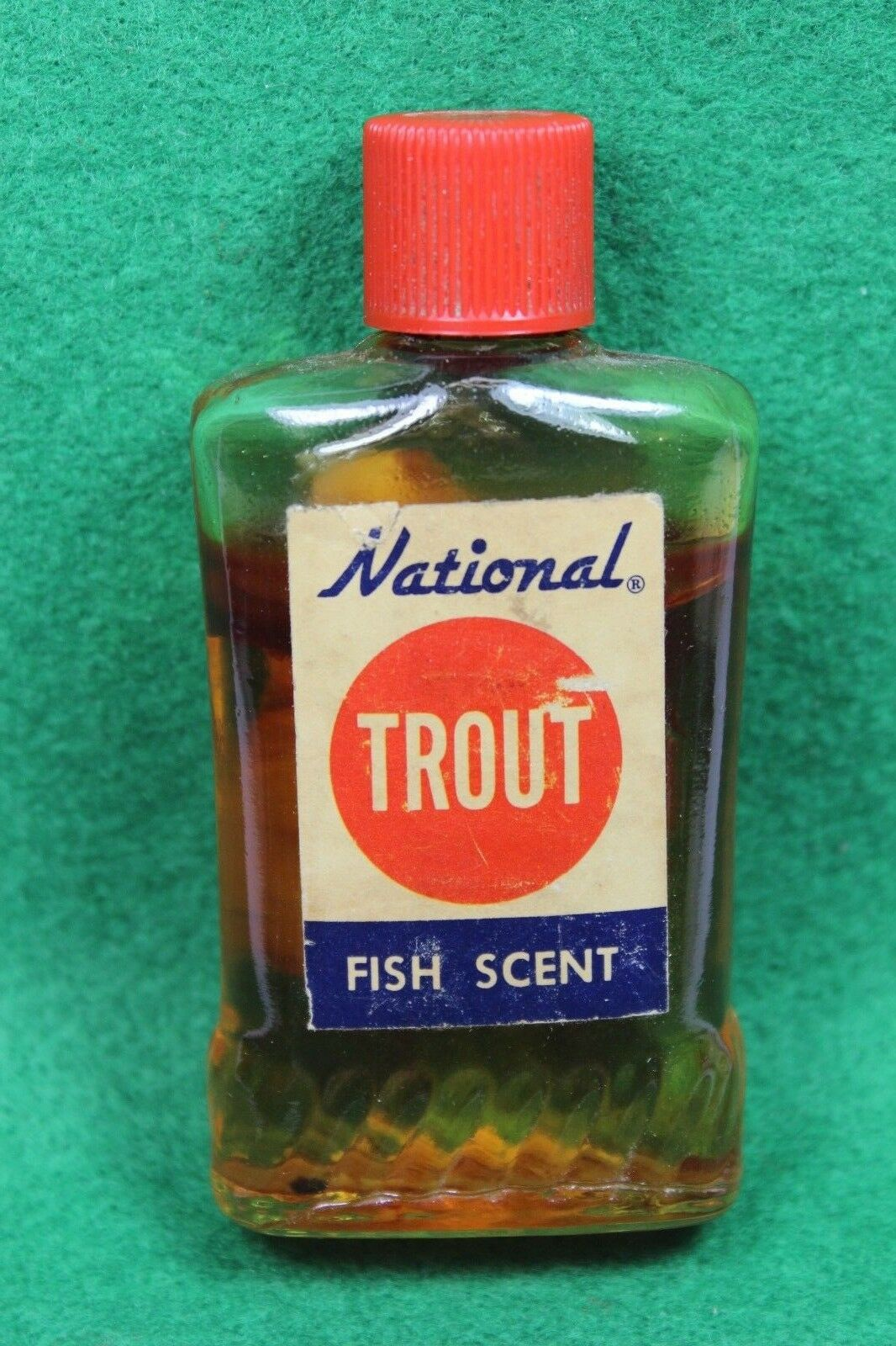 Vintage 1960's  National TROUT Fish Scent Bottle 90% Full  - Garden Grove, Calif.  promotional items