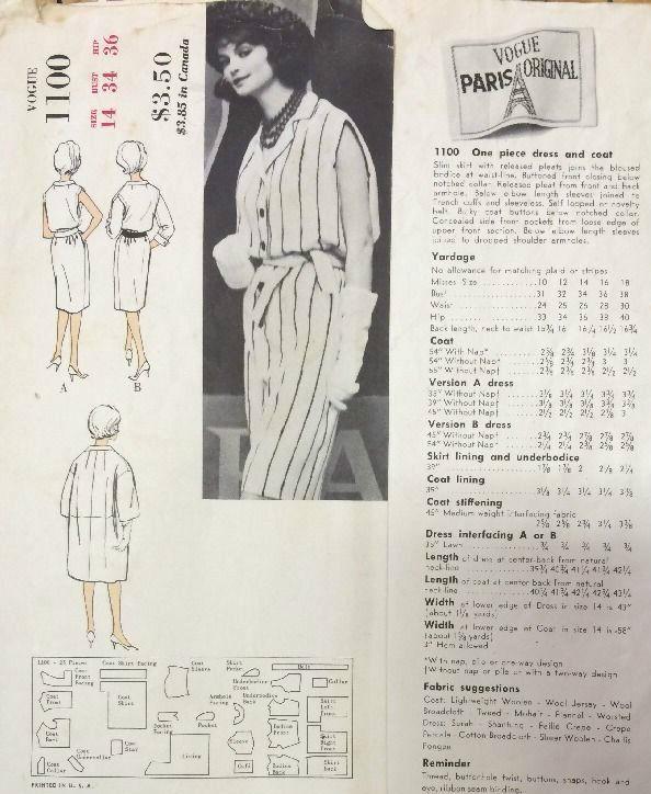 1960s Vintage Vogue Sewing Pattern B34 Coat & Dress (1383) Christian ...