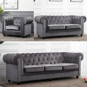 Details about Luxury Upholstered Velour Fabric Chesterfield Sofa 3 + 2  Seater + Armchairs Seat