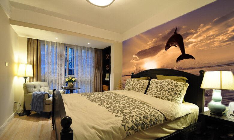 3D Delfin Sonnenuntergang 73 Tapete Wandgemälde Tapete Tapeten Bild Familie DE | Hohe Sicherheit  | Preiszugeständnisse  | Niedriger Preis