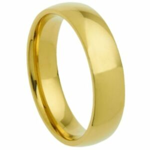 5mm Stainless Steel Gold Plated Classic Traditional Wedding Ring