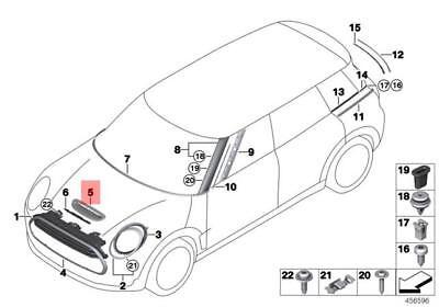 Genuine BMW Air Inlet Trim In Chrome MINI Cooper Jcw F54 F55 F56 51142348097