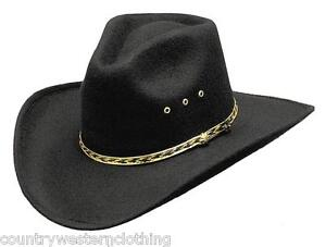 Image is loading Mens-Ladies-Western-Cowboy-Hat-Black-Pinch-Front- 64707f5d816