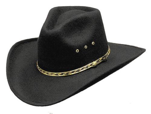 Uomo Donna Cowboy Western Cappello Nero pizzico ANTERIORE RODEO Stetson