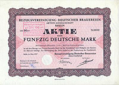 Berlin Bezugsvereinigung Dt. Brauereien Aktie 50 DM 1957 Breithaupt-Brauerei