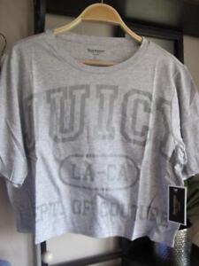 new JUICY COUTURE grey crop T SHIRT top front script logo cotton /modal XL bnwt