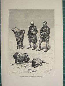 C1890 Antico Stampa ~Cinese Minatori~ Superiore Yangtze Highlands