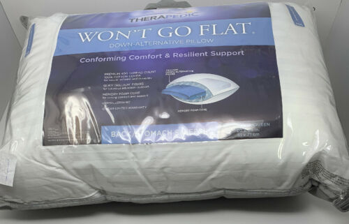Therapedic Won/'t Go Flat Luxury Standard Queen Back Stomach Sleeper Pillow