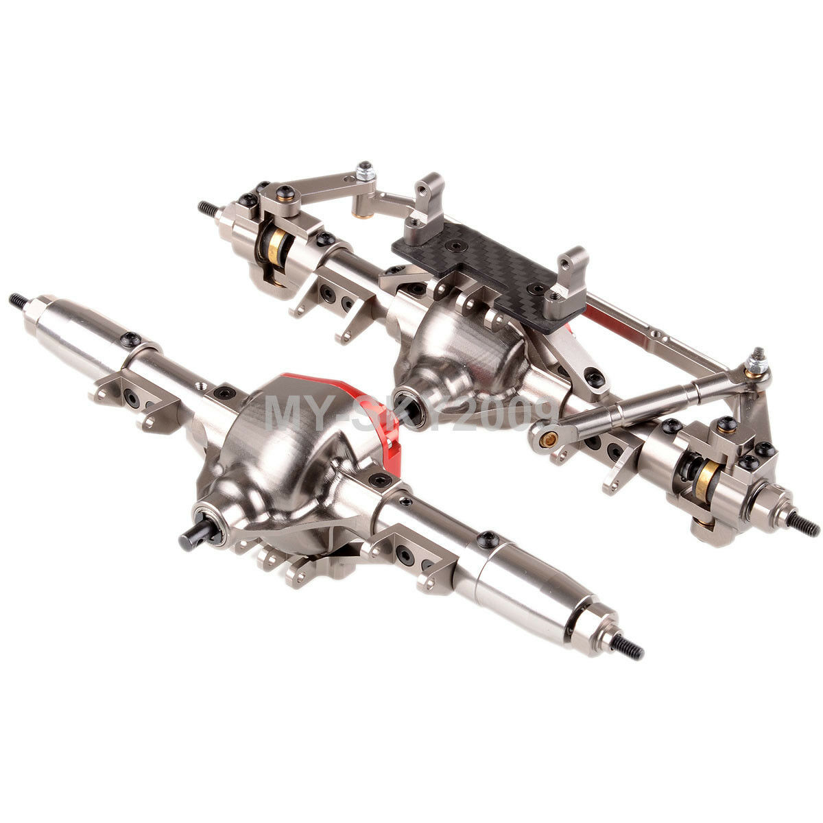 CNC  Aluminum F&R Axle completared Assembly For RC 1 10 Axial SCX10 AX90044 AX90028  disponibile