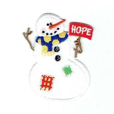 Iron On Embroidered Applique Patch - Christmas/Winter - Snowman Hope Sign