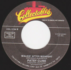 """PATSY CLINE / THE CHAMPS  - Walking After Midnight / Tequila  7"""" 45"""