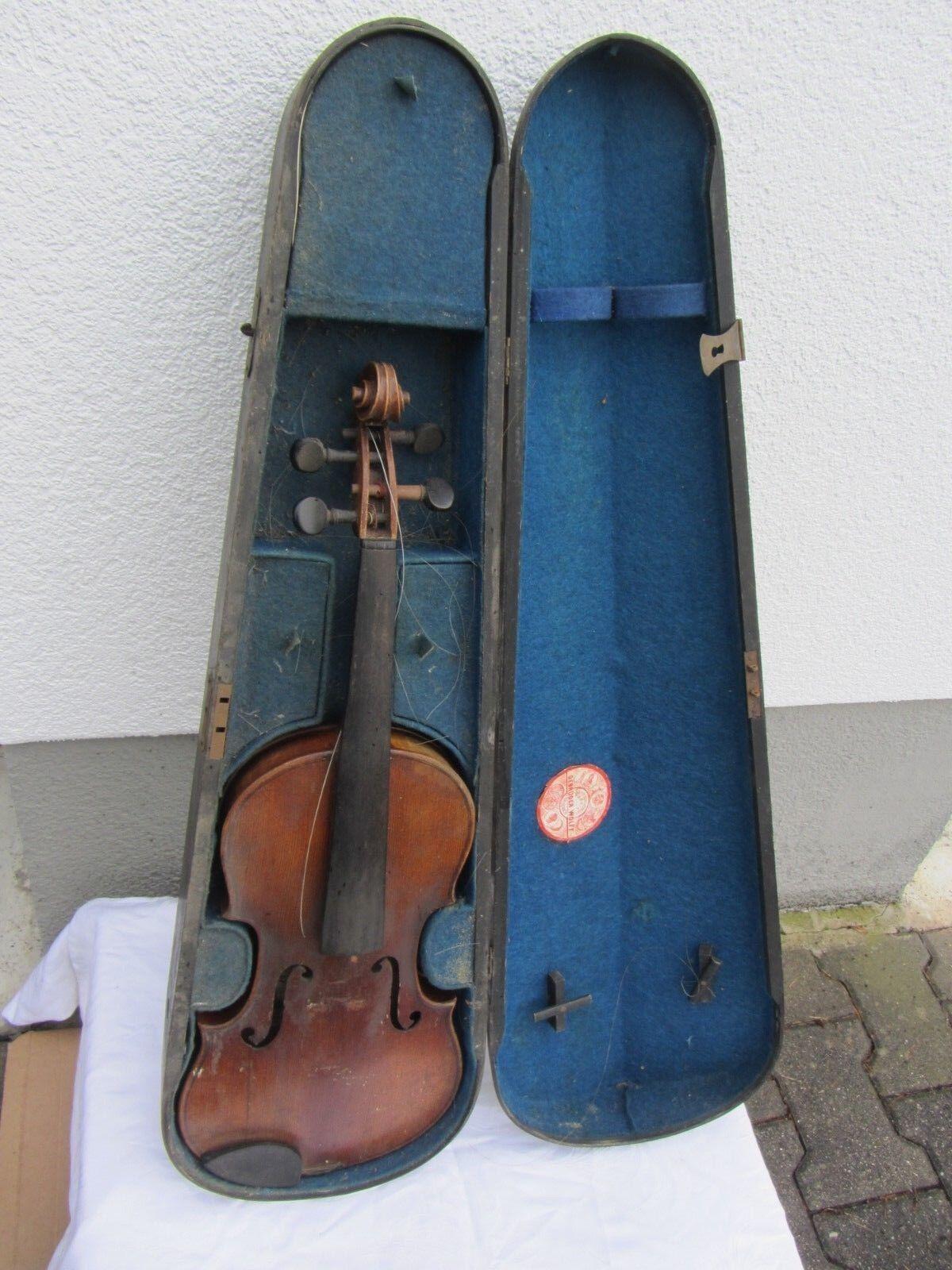 Alte Geige Violine Full storlek ca. 59,5 cm mit Zettel Gebr. Wolff Kreuznach