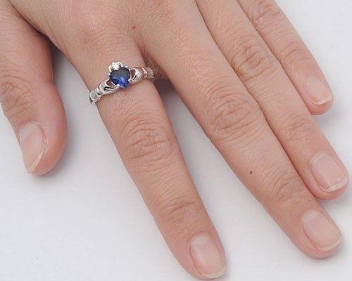 Celtic Claddagh Ring genuie Argent Sterling 925 Saphir Bleu 9 mm TAILLE 10