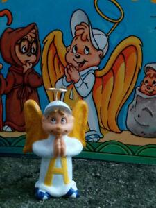 Vintage-Chipmunks-ALVIN-the-ANGEL-from-TV-episode-CUSTOM-Repaint-ORNAMENT-Figure