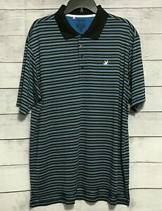 Adidas-Mens-Golf-Polo-Shirt-Size-XL-Logo-On-Back-Short-Sleeve-Striped-Blue-Black