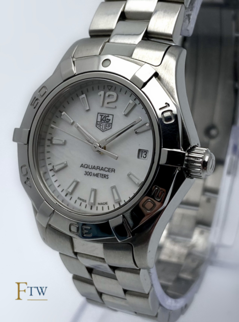 Tag Heuer Aquaracer Ladies Watch White Mother of Pearl Dial WAF1414 27mm