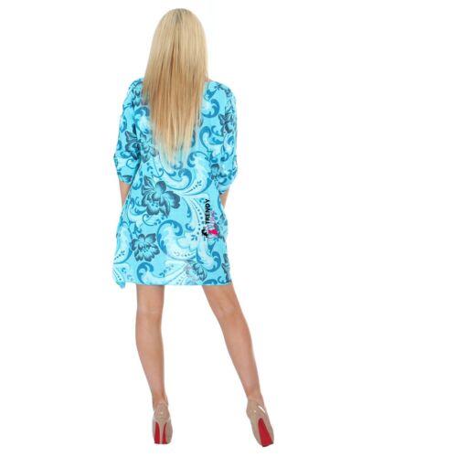 Femmes Coton Aline Imprimé Floral Été Haut Tunique Coton Robe Maxi Taille 8-16