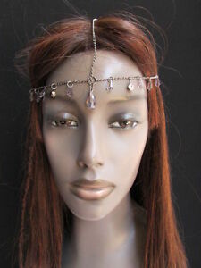 WOMEN-HEAD-CHAIN-PEWTER-METAL-THIN-CLEAR-BEADS-FASHION-JEWELRY-HEAD-BAND-PIECE