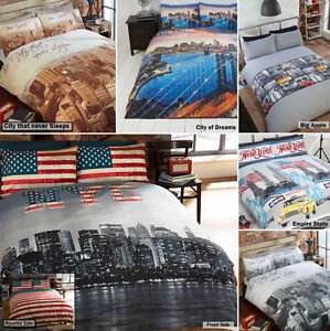 New york city skyline american themed reversible bedding for Style my bedroom