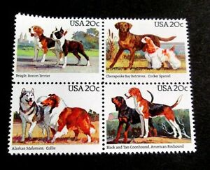 USA-DOGS-POPULAR-1984-USA-ISSUE-IN-BLOCK-4-DESIGNS-MNH