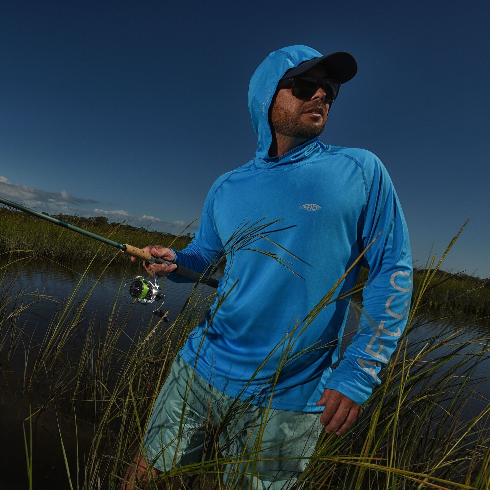 AFTCO  Samurai Sun Predection Hoodie-Fishing Shirt-UPF 50-Vivid bluee-Free Ship  brands online cheap sale