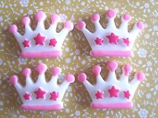 4x Pink & White Crown Flatback Resin Embellishment Crafts Hairbow Cabochon UK