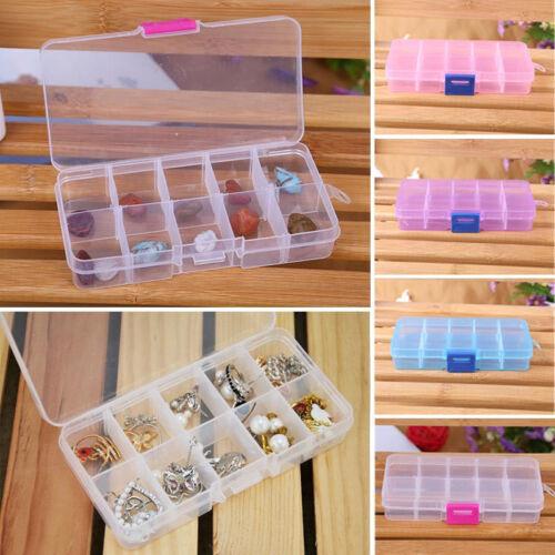 10 Grids Plastic Storage Box Case Adjustable Jewelry Beads Pills Nail Art Tips