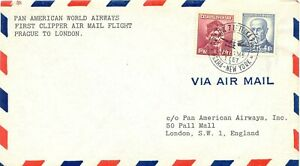 TSCHECHOSLOWAKEI-1946-Erstflug-PAA-First-Clipper-Air-Mail-Flight-PRAG-LONDON