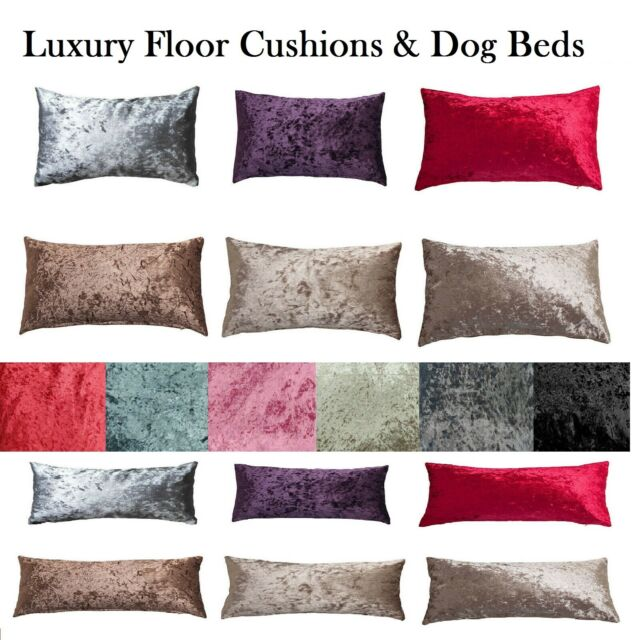 Crushed Velvet Floor Cushion Covers Only Or With Inner 60 X 80 80x120 Dog Beds