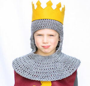 Knight Hood Chainmail Hat, Gray Knit / Crochet Medieval ...